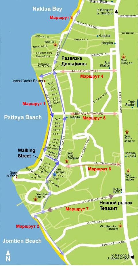 Схема движения тук туков в Паттайе