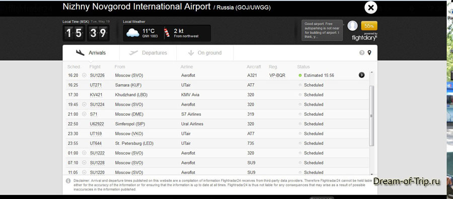 флайрадар онлайн табло аэропорта
