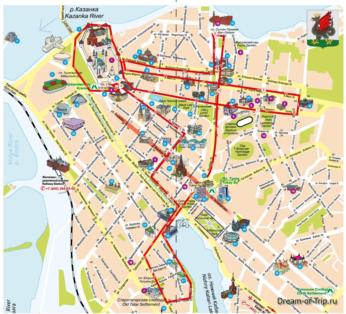 Полный маршрут экскурсионного автобуса.
