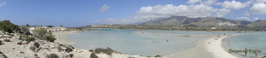 Знаменитый островок и пляж Элафониси. Панорама.