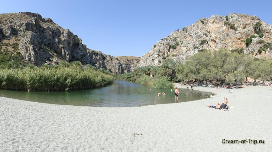 Пальмовый Пляж Превели на острове Крит.